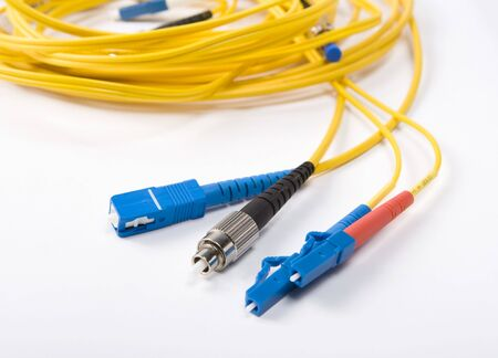 fibre optic: Fibre Optic Network Cables Stock Photo
