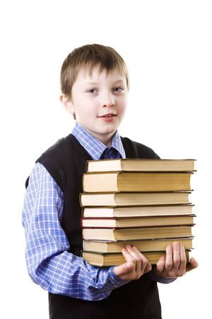 Boy with a Stack of books photo