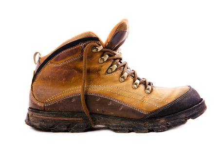 steel toe boots: Work brown boots isolated on white Stock Photo