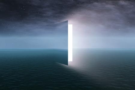 surreal: Door to heaven with stars