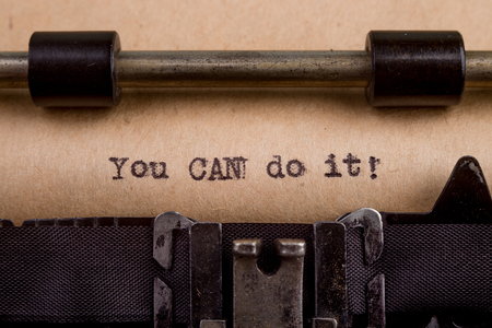 typed: You can do it - typed words on a Vintage Typewriter Stock Photo