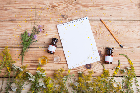 recipe background: fragrant oil in the bottles, herbs and blank notepad