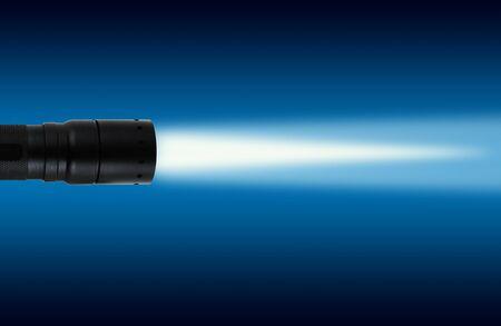 LED flashlight with on white background