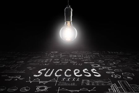 Business concept - word ' Success ', sketch with schemes and graphs on chalkboard Banque d'images