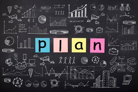 Business concept - word ' Plan ', sketch with schemes and graphs on chalkboard Banque d'images