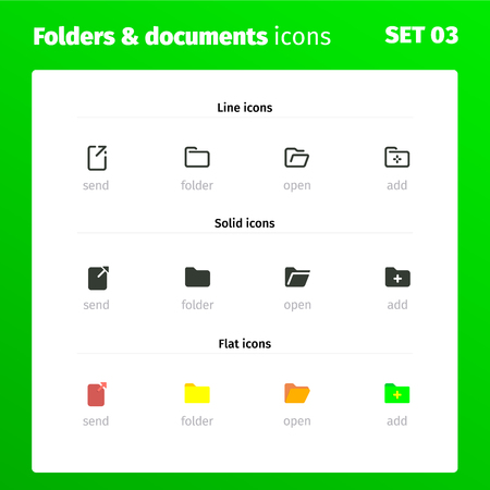 Professional set of icons for working with folders and documents