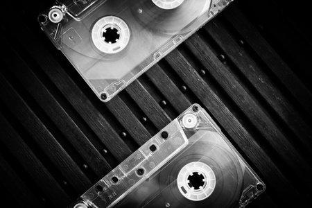 Audio cassette on a colored background close up Reklamní fotografie
