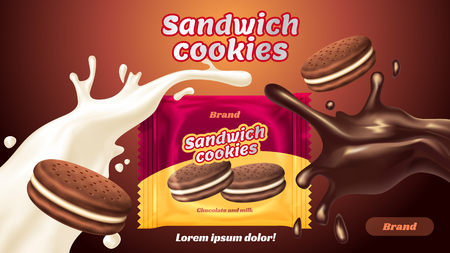 Sandwich cookies ads, milk chocolate flavor with tasty liquid twisted in the air and package in 3d illustration