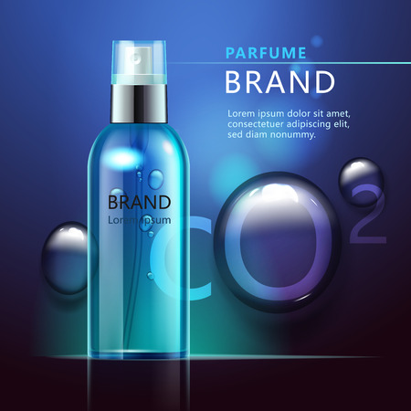 Cosmetic products ad, transparent bottle with blue liquid and air bubbles on a dark blue background with drops of water. 3d illustration