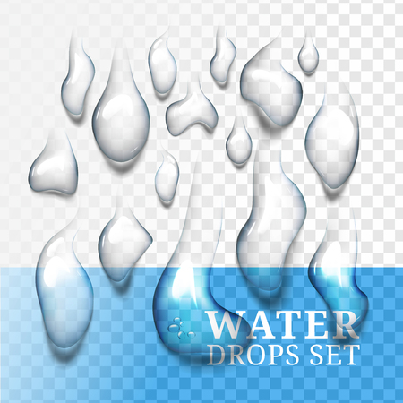 Realistic drops of water with own shadow Illustration