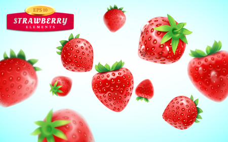 Strawberry set, detailed realistic ripe fresh strawberries with green leaves with water droplets isolated on a blue background. 3d illustration
