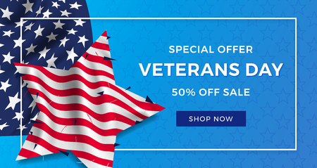Veterans day advertising banner with realistic flag of America with folds in the shape of a star and text on a blue background.