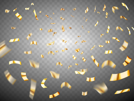Confetti explosion on transparent background. Gold metal realistic scattered confetti. Many falling tiny confetti pieces. Celebration background with confetti Stok Fotoğraf - 88680551