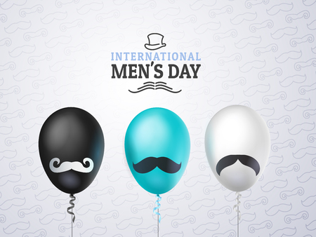 International mens day or Fathers Day vector greeting card. Realistic balloons black, white, blue with mustache on light background. Pattern of mustache. For your design, layout. 3d illustrations