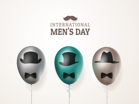 International mens day or Fathers Day vector greeting card. Realistic balloons black, green, brown with mustache and hats on light background. For your design, layout. 3d illustrations Illustration