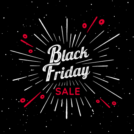 Black Friday vector vintage illustration. Sign with firework explosion. Stamp textured label with light rays and the percent sign.