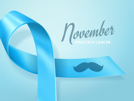 Prostate Cancer Day concept. Prostate cancer awareness blue symbol, ribbon with mustache isolated on blue background. Men healthcare concept. Vector illustration. Illustration