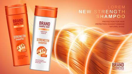 プレミアム シャンプー広告、別の包装のデザイン、保護と輝きの効果と髪に明るいオレンジ色の背景、3 d イラストレーションの輝きのシャンプーの