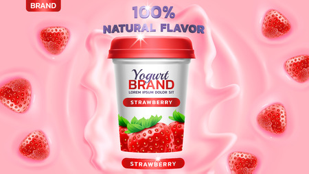 Strawberry flavor yogurt ad, with yogurt splashing and waves and floating strawberry elements, 3d illustration Vettoriali