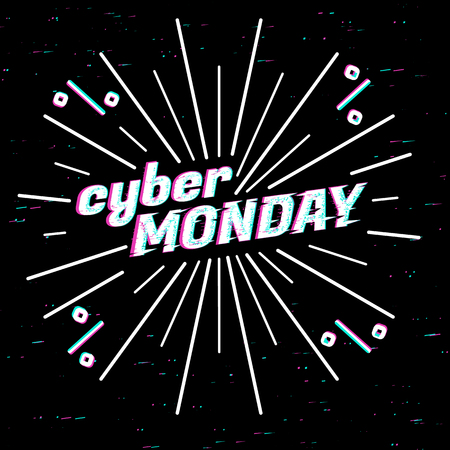 Cyber Monday Sale label. Template design web banner for cyber monday offer. Promotion design in glitch, retro style with geometric particle and rays.