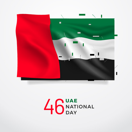 UAE National Day 46. Realistic national flag with folds with geometric objects. Easy to use in your design layout of posters, banners, postcards, flyers. Illustration