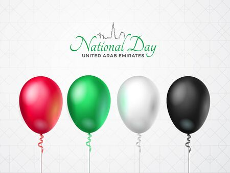 United Arab Emirates Happy National Day greeting card. 2 december. Balloons with emirate flag colors, isolated on white background with geometric pattern. Patriotic Symbolic vector illustration. Illustration