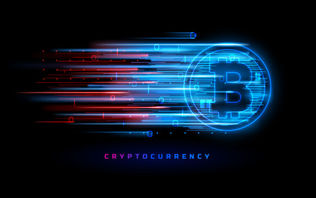 Cryptocurrency concept. Vector technology illustration. Neon light sign with with neon lines, geometric figures. Futuristic label design. Luminous cyber hologram. Sci fi digital futuristic theme.