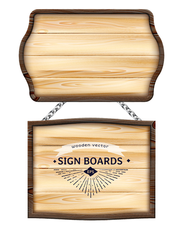 Realistic wooden signboards or wood plank with dark frame.