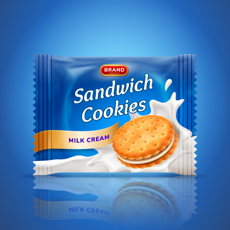 Sandwich cookies or cracker package design. Easy used template isolated on blue background. Food and sweets, baking and cooking theme vector realistic 3d illustration. 일러스트