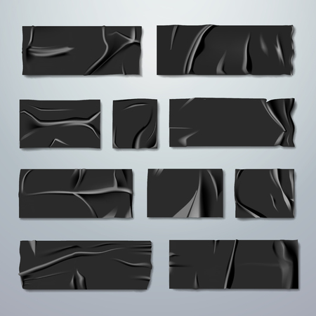Adhesive or masking tape set. Black rubber insulating tape with folds with ripped edges isolated on background. Fixation or gluing. Repair or packaging theme. Stationery. Vector realistic illustration