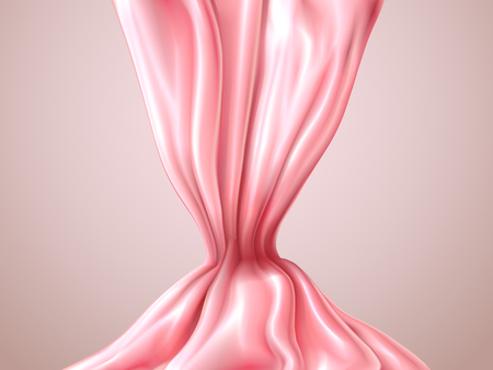 Abstract pink silk or satin, romantic silky abstract background. Silk fabric luxury cloth with folds. Elegant element for design vector 3d illustration. Ilustração