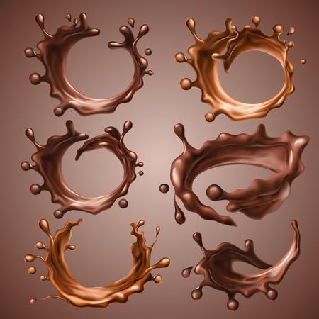 Set di schizzi realistici e gocce di fondente fuso e cioccolato al latte. Cerchio dinamico spruzza di vortice di cioccolato liquido, caffè caldo, cacao. Elementi di design per l'imballaggio. Illustrazione 3d vettoriale