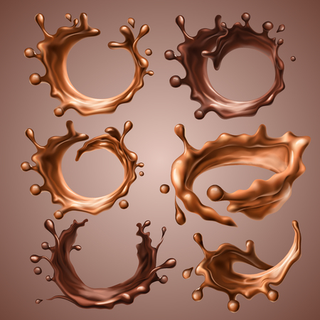 Set of realistic splashes and drops of melted milk and dark chocolate. Dynamic circle splashes of whirl liquid chocolate, hot coffee, cocoa. Design elements for packaging. Vector 3d illustration.