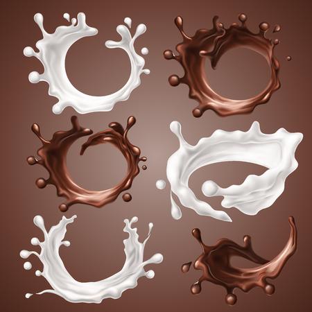 Set di schizzi realistici e gocce di latte e cioccolato fuso. Cerchio dinamico schizzi di vortice di cioccolato liquido, prodotti lattiero-caseari, caffè, cacao. Elementi di design per l'imballaggio. Illustrazione 3d vettoriale