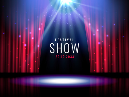 Theater stage with red curtain and spotlight Vector festive template with lights and scene. Poster design for concert, theater, party, dance, event, show. Illumination and scenery decoration.