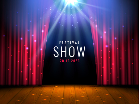 Theater wooden stage with red curtain and spotlight Vector festive template with lights and scene. Poster design for concert, theater, party, dance, event, show. Illumination and scenery decoration. 일러스트