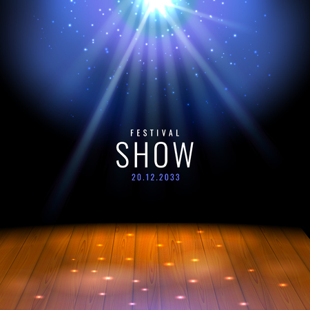 Realistic theater wooden stage or floor with spotlight Vector festive template with lights and scene. Poster design for concert, theater, party, dance, event, show. Illumination and scenery decoration Vectores