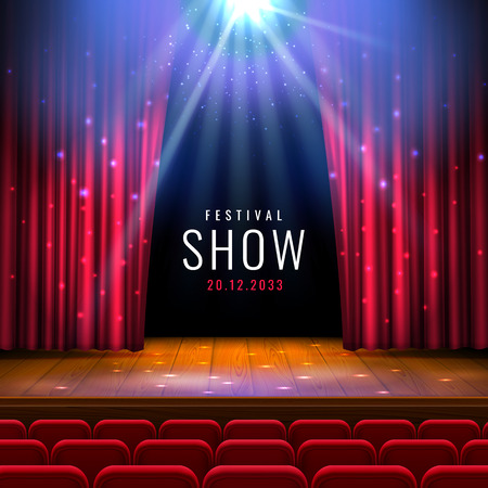 Theater wooden stage with red curtain, spotlight, seats.Vector festive template with lights and scene. Poster design for concert, theater, dance, event, show. Illumination and scenery decoration.