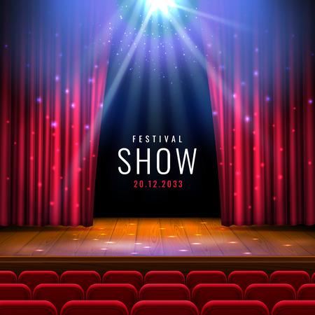 Palcoscenico teatrale in legno con tenda rossa, riflettori, sedili. Modello festivo di vettore con luci e scena. Design del poster per concerti, teatro, danza, eventi, spettacoli. Illuminazione e decorazione scenica.