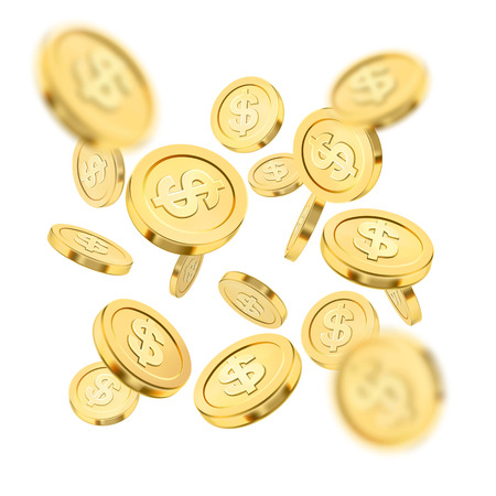 Realistic gold coin explosion or splash on white background. Rain of golden coins. Falling money. Bingo jackpot or casino poker or win element. Cash treasure success concept. Vector 3d illustration.