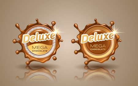 Set of deluxe design labels in gold color isolated on background. Swirl dynamic splash of milk chocolate. Chocolate circular border and drops. Packaging design element. Vector 3d illustration.