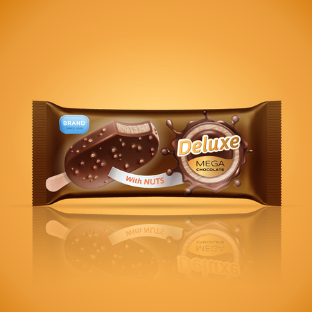 Ice cream bar packaging design isolated on orange background. Vector ice cream in chocolate glaze or sauce with crispy nuts. Gold label template. Chocolate circular splash. 3d realistic illustration.