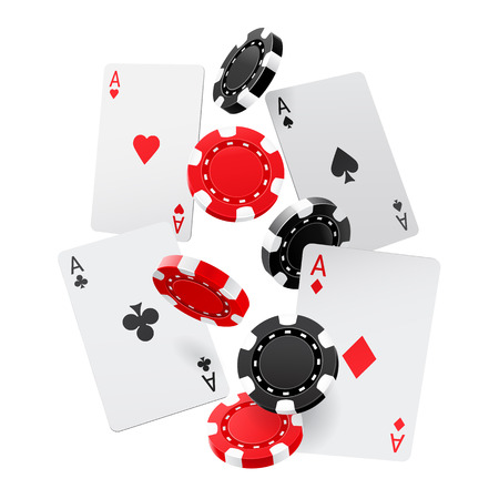 Falling aces and casino chips with isolated on a white background.