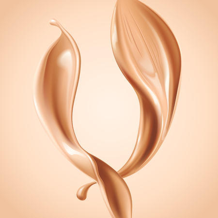 Liquid foundation elements. Splashing beige liquid, flow of creamy texture isolated on background. Vector realistic 3d illustration. Vettoriali