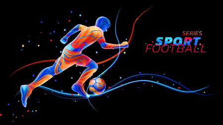 Vector 3d football player with neon light lines isolated on black background with colorful spots. Liquid design with colored paintbrush. Soccer illustration. Sports and athletics or competition theme. Stock Illustratie