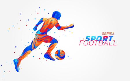 Vectorvoetballer met kleurrijke vlekken die op witte achtergrond worden geïsoleerd. Vloeibaar ontwerp met gekleurd penseel. Voetbal illustratie met bal. Sport, atletiek of wedstrijdthema. Winnend concept.