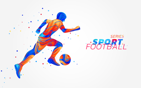 Vektorfußballspieler mit bunten Stellen lokalisiert auf weißem Hintergrund. Flüssiges Design mit farbigem Pinsel. Fußballillustration mit Ball. Sport, Leichtathletik oder Wettkampfthema. Erfolgskonzept.