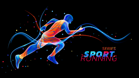 Vector 3d runner with neon light lines isolated on black background with colorful spots. Liquid design with colored paintbrush. Illustration of athletics, marathon, run. Sports and competition theme.