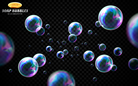 Vector soap bubbles set isolated on black transparent background. Special effect for design. Water spheres with air, soapy balloons, lather, suds, soap suds. Glossy foam balls. 3d illustration.