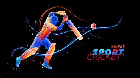 Vector abstract illustration of batsman playing cricket from colored liquid splashes and brush strokes with neon lines and colored dots. Championship and competition sports. 3d player silhouette. Ilustração Vetorial